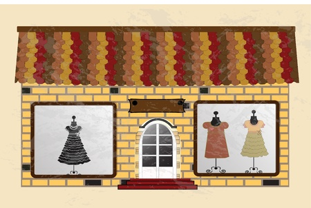 frontdoor: Beautiful  boutique with clothes in the shop window Illustration