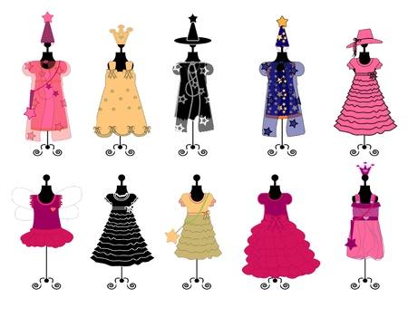 女の子をドレスします。衣装のベクトル