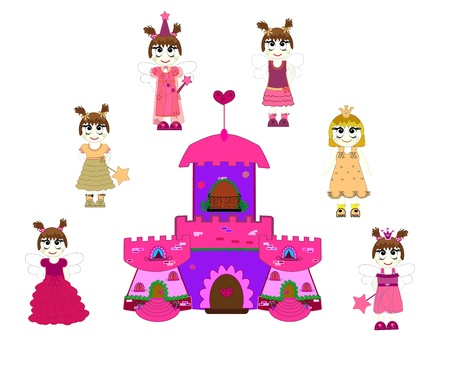 Little cute princess and castle. Stock Vector - 10493900
