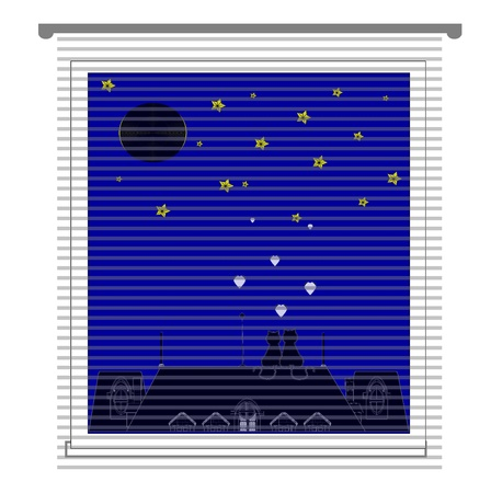 window with jalousie and night city vector Illustration