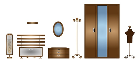 illustration of isolated set of  furniture on white background