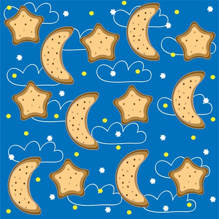 Background of night with stars and  month. Vector Vector