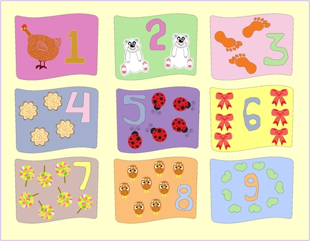 numbers with pictures for children education vector Vector