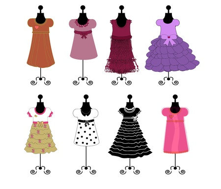 muneca vintage: vestidos de vectores illustrqtion
