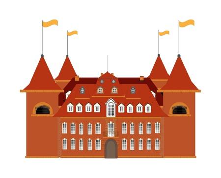 Altes Schloss auf weißem Hintergrund - Vektor-Illustration.