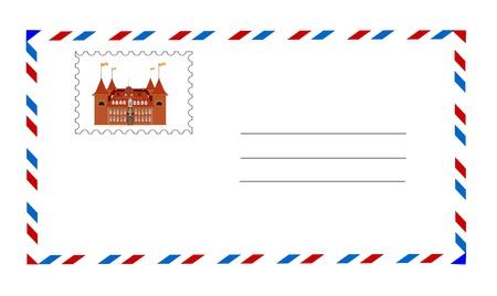 timbre postal: sobre blanco con el vector de sellos