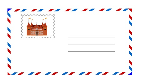 white envelope with postage stamp vector Illustration