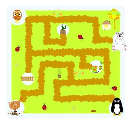 maze game: funny vector labyrinth for children  Illustration