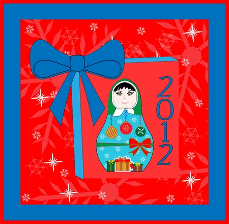 Happy New Year Card Design - Russian Doll  Vector