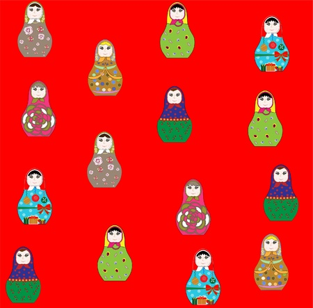 Seamless retro russian doll illustration background pattern in  Vector