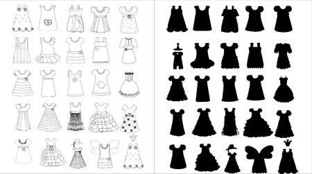 boutique display: illustration of childrens dresses Illustration