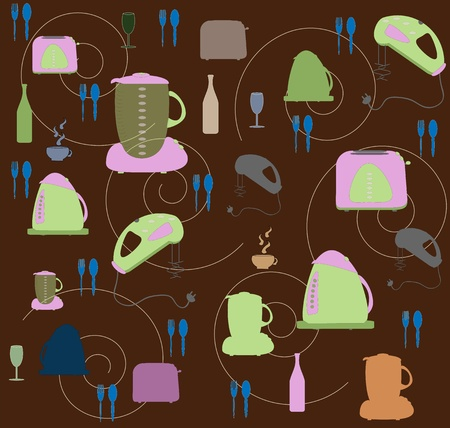 Seamless wallpaper with utensils and kitchen tackle vector Vector