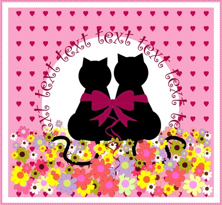 Cartoon cats in love. Cute romantic background  Vector