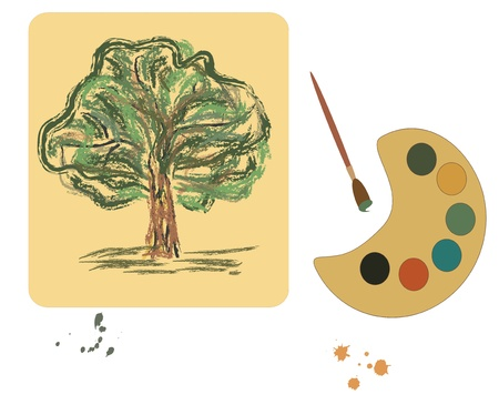 illustration  with color plate and brush  Vector