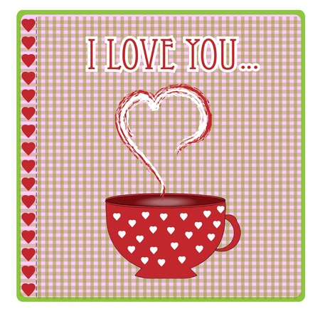 greeting card with hearts and love vector Vector