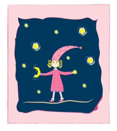 cute girl with moon and stars Postcard vector Vector