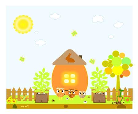 egg plant: Chicken and egg. Easter card. Vector illustration.