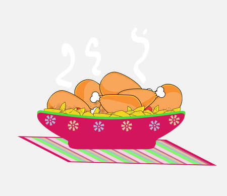 baked: vector images of chicken leg with  potatoes Illustration