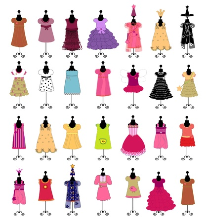 Fashion. Dresses for girls. set illustration Vector