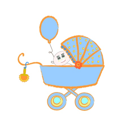 stuffs: Baby buggy. illustration on white background