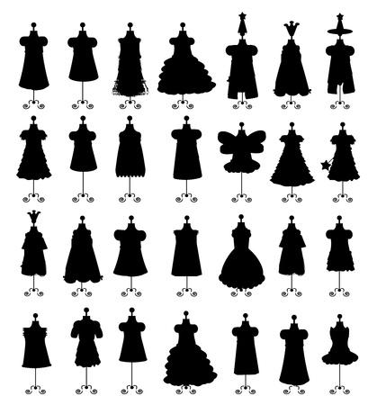 costurera: Juego de vestidos aisladas sobre fondo blanco