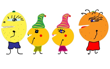 Happy Fruit Characters vector Vector
