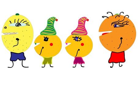 Happy Fruit Characters vector Vector