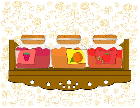 shelf with  jars of jam vector Vector