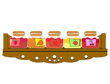 Vector illustration of shelf cupboard filled with jam jars Vector