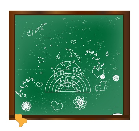 drawing with chalk on a blackboard vector Stock Vector - 14958952