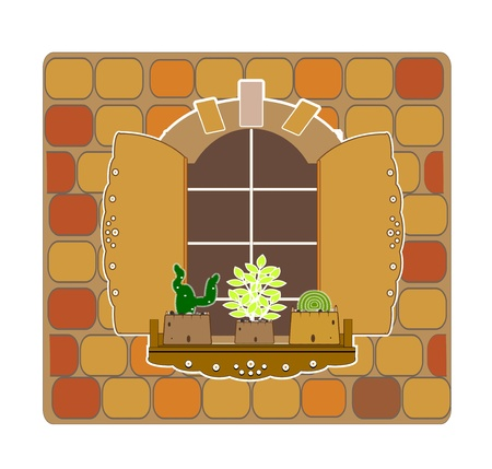 old window: wooden opening old window and flowers vector Illustration