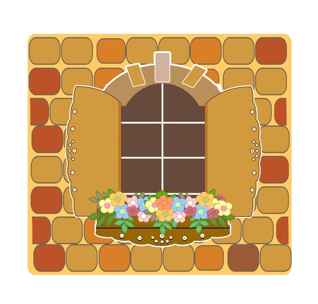 wooden opening old window and flowers  Vector