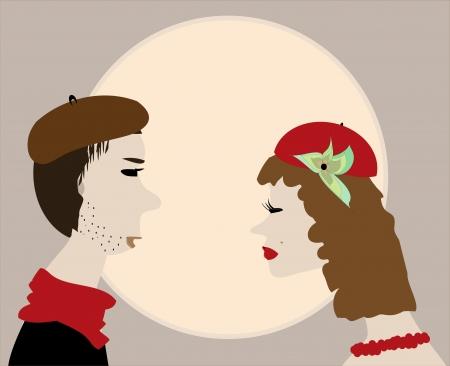 man face profile: Man kiss woman retro vintage Illustration