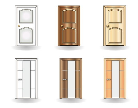 Set of doors on a white background Vetores