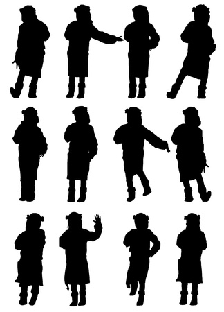 girl sings and dances. silhouette vector Vector