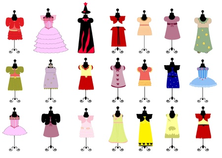 modern doll: set of colorful childrens dresses for girls. vector
