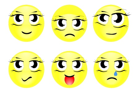 Set of characters of yellow emoticons Vector