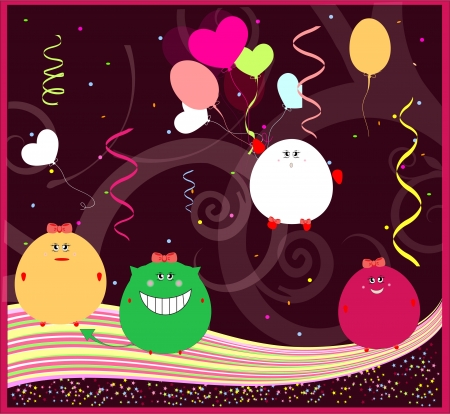 funny greeting card with little monsters. happy birthday vector Stock Vector - 18982283