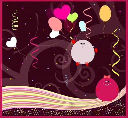 greeting card with funny monsters vector Stock Vector - 18982277