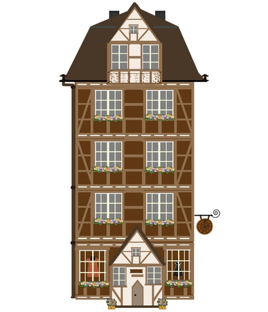 Isolated cottage with attic  Vector