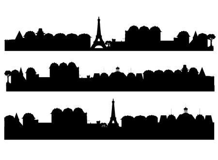 Set  cities silhouette  Illustration