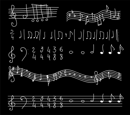 eighth: notes on a black background  sketch vector