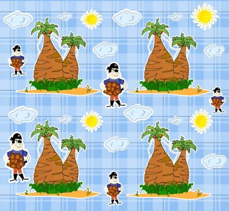 Seamless pirate island illustration kids background pattern vector Vector