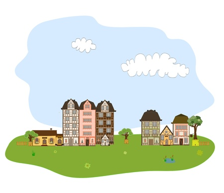 Beautiful village, town or neighborhood on green hills Stock Vector - 19507926
