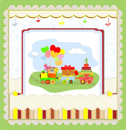 Cute card on birthday with colorful train Vector