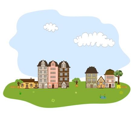 Beautiful village, town or neighborhood on green hills Stock Photo - 19800535