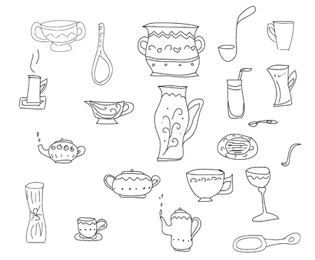 Big set of kitchen tools, sketch in simple black lines Stock Photo