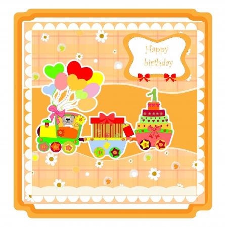 cute happy birthday card with train . illustration illustration