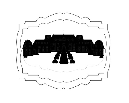fortified: Silhouette of the old lock on a black background vector
