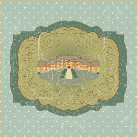 vintage card with old European castle vector Illustration